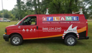Flame Heating, Cooling, Plumbing, and Electrical has over 60 vehicles on the road